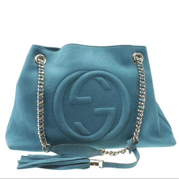 Gucci Handbags - Gucci Medium Soho Chain Blue Leather Tote